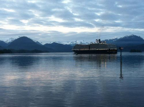 The Holland America ship Westerdam prepares to unload passengers in Sitka in the early morning hours of July 4, 2012. (KCAW file photo by Ed Ronco)
