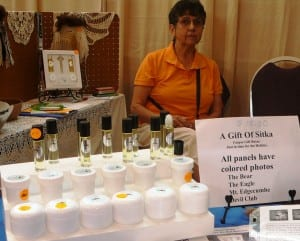 Pauline Duncan displays her devil's club products at the Celebration Native Artists' Market in June of 2010 in Juneau.
