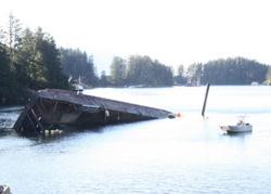 Coast Guard monitors sunken barge in Sitka