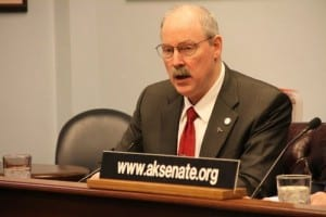 """State Sen. Bert Stedman speaks at a press conference in 2014. He told Sitka's Chamber of Commerce, """"We don't want to go to a vote of the people to make payroll."""" (File photo)"""