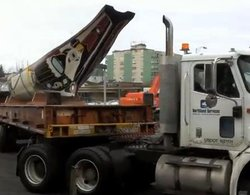 VIDEO: Canoe moves across Sitka parking lot