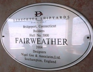 A dedication plaque posted inside the fast ferry documents completion of the Fairweather's hull.