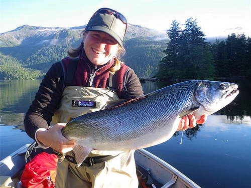 Redoubt is not just about sockeye. Megan Gahl holds another bright coho for the freezer. (USFS Photo/Darrin Kelly)