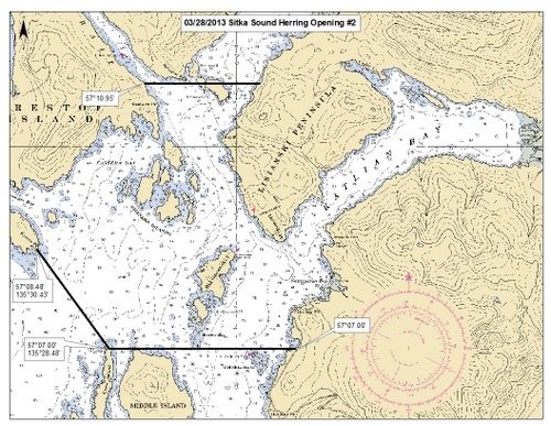 These are the boundaries of today's opening in the Sitka Sound sac roe herring fishery. (Image from ADF&G)
