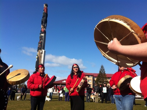 Musicians perform in Totem Square prior to Wednesday's Choose Respect march against domestic violence and sexual assault. (KCAW photo by Ed Ronco)