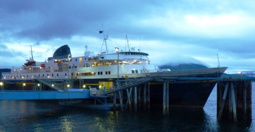The ferry Malaspina  gets ready to sail from Juneau's Auke Bay terminal last fall. Its stack has since been painted yellow in honor of the 50th anniversary of the Alaska Marine Highway. Photo by Ed Schoenfeld, CoastAlaska News.