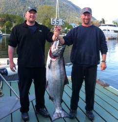 Fishing partners Grant Hagerman (l.) and Mike Vaughn with Vaughn's 55.5-pound king.