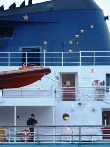 The ferry Matanuska docks in Wrangell, giving a passenger a chance to make a cell phone call. Photo by Ed Schoenfeld, CoastAlaska News.