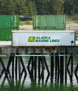 Alaska Marine Lines containers wait for loading on Yakutat's dock. AML is part of Lynden Inc. Image by Ed Schoenfeld, CoastAlaska News.