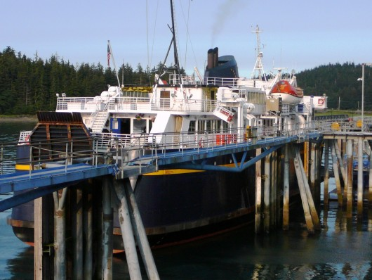The ferry LeConte docks at Juneau's Auke Bay terminal. The ship is in drydock in Ketchikan for bow thruster repairs. Photo by Ed Schoenfeld, CoastAlaska News.