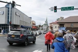A Sitka police car drives through downtown on Wednesday, June 5, 2013. The police department says it's understaffed and needs more personnel to handle patrol duties in Sitka. (KCAW photo by Ed Ronco)