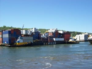 A Samson barge departs Seattle for Alaska on May 6th. Image Copyright © Samson Tug and Barge, used with permission.