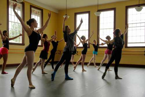 A Sitka Fine Arts Camp ballet class rehearses for this weekend's performance. (SFAC photo/Paul Cox)
