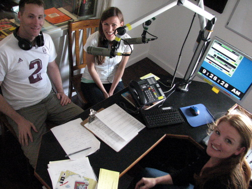 Brooks & Caitlin Crawford spin tunes with Jess Gibson on the Good Day Show on Tuesday. (KCAW photo/Robert Woolsey)