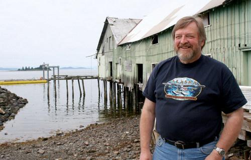 Organized Village of Kake Executive Director, Gary Williams, standing outside the Keku cannery.