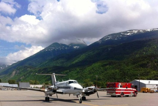 A Guardian Flight turboprop prepares to take off from Skagway's airport in June. The company is taking over all medevacs for the SouthEast Alaska Regional Health Consortium. (Image courtesy Guardian Flight Facebook page)