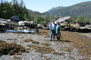 Phyllis Mulligan and Karen Lucas at the boat graveyard in the back lagoon at Port Alexander.