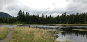 Sport fishermen cast lines at Blind Slough, a Tongass National Forest site near Petersburg. (Ed Schoenfeld/CoastAlaska News)