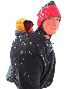 Erin McKittrick and her daughter, Lituya, in a snowstorm during the family's trek to Malaspina Glacier. (Photo courtesy of Erin McKittrick).
