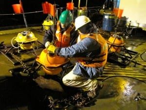 Researchers dropped seismometers from a ship in late April; the instruments settled onto the ocean floor along the Queen Charlotte - Fairweather faults, and recorded data for a month. (Photo courtesy of Emily Roland)