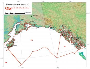The halibut catch-sharing plan impacts Southeast, Area 2C, and the central gulf, Area 3A. (Courtesy NOAA Fisheries)