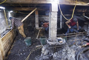 Human skeletal remains were discovered in part of the Cable House basement during construction.  (Photo by James Poulson/Daily Sitka Sentinel)