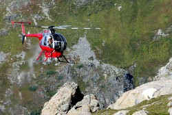 A helicopter flies from Juneau to assist with Baranof mountain goat tagging. (photo courtesy of Phil Mooney)