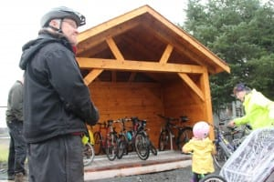 The shelter is built entirely from locally-sourced wood: Sitka spruce for the frame, cedar for the siding and shingles. (KCAW photo/Emily Forman)