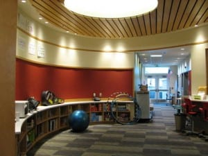 The central area of the school is filled with natural light. (KCAW photo/Emily Forman)