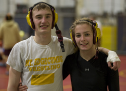 Twins Trevor and Deirdre Creed are seniors on the Mt. Edgecumbe wrestling team. (KCAW photo/Emily Forman)