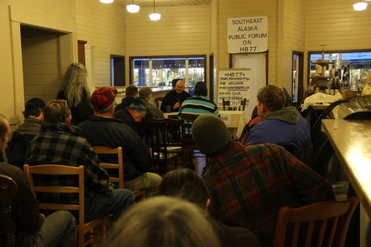 About forty people turned out for a meeting organized by the Sitka Conservation Society to discuss HB77, a controversial permitting bill before the Alaska legislature. (KCAW photo/Rachel Waldholz)