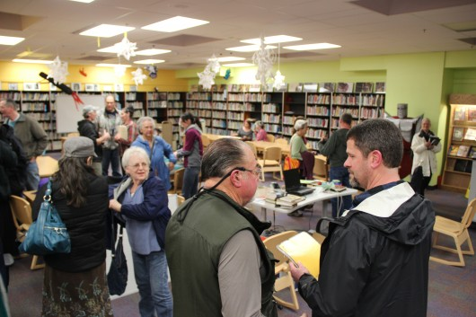 Parents and community members attended a Parent Advisory Committee meeting at Blatchley Middle School on Thursday, January 23. On the agenda: health education. (KCAW photo/Rachel Waldholz)