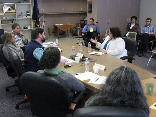 Mary Wegner interviews with the Sitka School Board. (KCAW photo/Robert Woolsey)