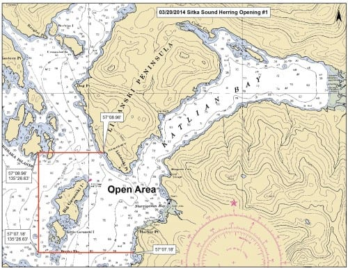 The Alaska Department of Fish & Game released this map, showing the boundaries of Thurday's herring season opener. Sunday's second opening will be within the same boundaries. Fishing was restricted to Starrigavan and Katlian bays, north of Sitka. (Map courtesy ADF&G)