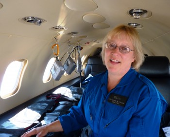 Airlift Northwest's Shelly Deering explains the medical equipment in a medevac Learjet. She urged lawmakers to pass a bill allowing the service's membership program to keep operating in Alaska. (Ed Schoenfeld/CoastAlaska)