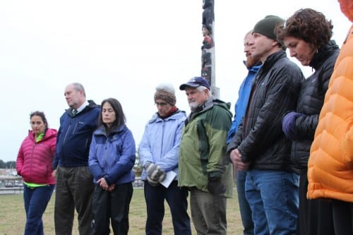 Sitka residents gathered in Totem Square to mark Holocaust Remembrance Day, or Yom HaShoah.