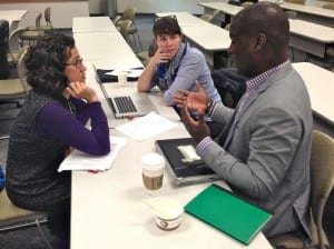 KCAW news fellow Emily Forman (l) and reporter Rachel Waldholz discuss reporting technique with NPR's Sonari Glinton. (KCAW photo/Shady Grove Oliver)