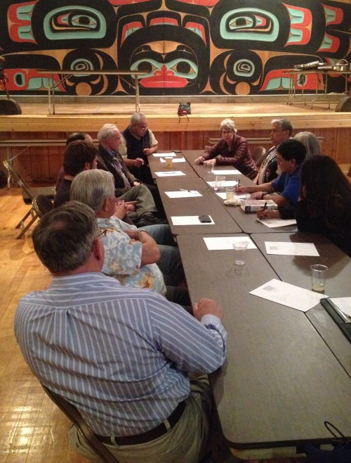 Members of the Sitka Assembly  and Tribal Council meet semi-annually. KCAW photo/by Emily Forman)
