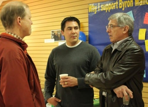 Byron Mallott, right, mingles with visitors at the open house of his campaign headquarters in Juneau. Mallott will leave Sealaska's board of directors next month to concentrate of his race for governor. (Lisa Phu/KTOO)