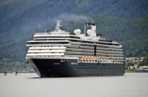 The Holland America Cruise Ship Westerdam prepares to dock in Juneau July 16, 2012. (Photo by Heather Bryant/KTOO)