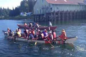 Three canoes left Kake this morning, starting a week-long trip to Juneau for Celebration 2014. (Photo courtesy of Dawn Jackson)