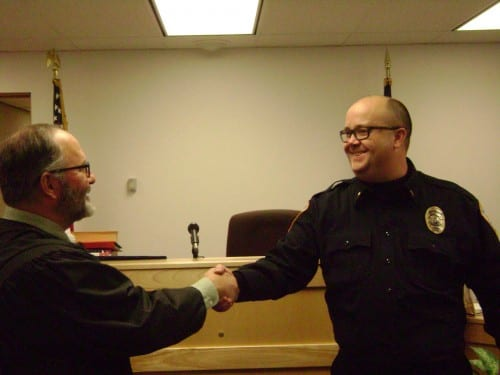 Sitka's newest police lieutenant,  Jeff Ankerfelt, is sworn in. (Photo courtesy of the Sitka Police Department)