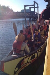 Paddlers in the three canoes come from Kake, Wrangell, and Ketchikan. They'll meet up with canoes from around Southeast on the route  to Juneau. (Photo courtesy of Dawn Jackson)