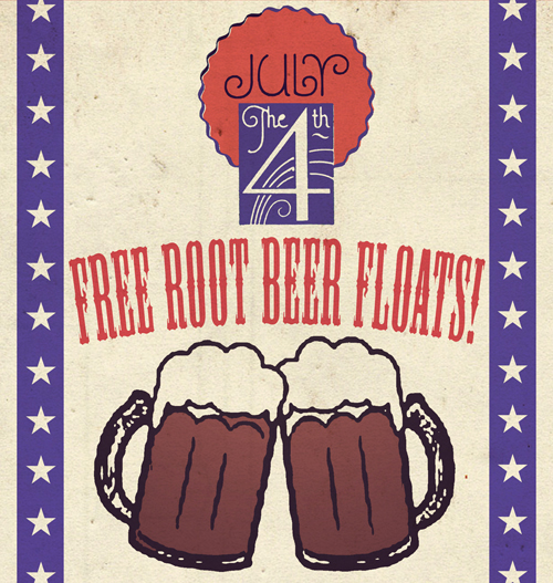 Celebrate July 4th with free root beer floats!