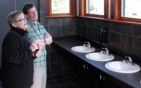 Sitka's Odess Theater: A ladies' room (and lady) like no other