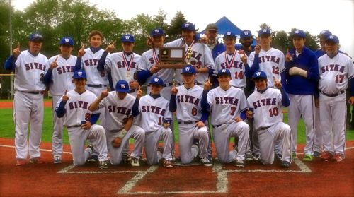 The Sitka baseball team poses after winning the 2014 State Baseball Tournament. (KCAW photo/Robert Woolsey)