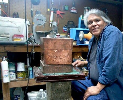 Sitka artist Dave Galanin in his studio. Photo by Greta Mart.