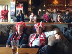 Sitka residents and visitors packed the Bayview Pub on Tuesday to watch the U.S. take on Belgium in the World Cup Round of 16 (KCAW photo / Rachel Waldholz)