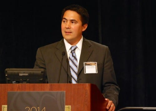 Sealaska CEO Anthony Mallott addresses shareholders at the Sealaska annual meeting near the SeaTac Airport. (Photo courtesy Sealaska)
