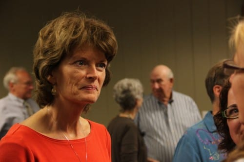 Republican U.S. Senator Lisa Murkowski spoke with Sitkans on August 7, 2014. (KCAW photo/Rachel Waldholz)
